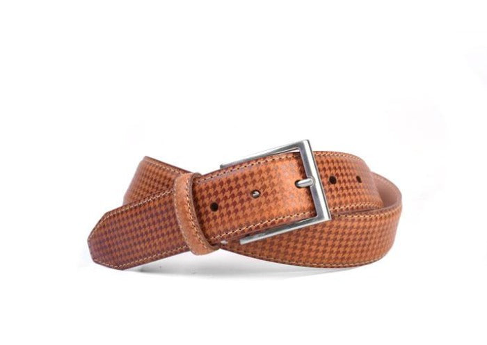 Clayton Houndstooth Debossed Italian Leather Belt - Saddle Tan