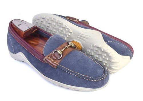 Bill Water Repellent Suede Horse Bit Loafer - Royal