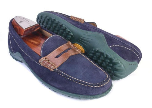 Bill Water Repellent Suede Penny Loafer - Navy