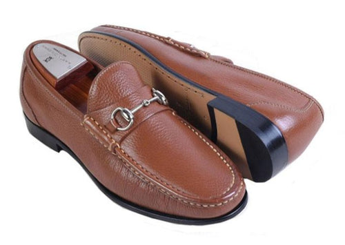 Addison Tumbled Glove Leather Horse Bit Loafer - Saddle Tan