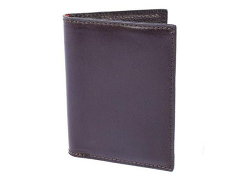Edward Glazed Saddle Leather I.D. Wallet - Chocolate