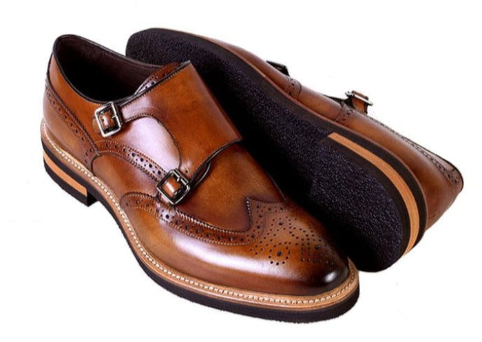 Tuscan Hand Stained Italian Saddle Leather Double Monk Strap