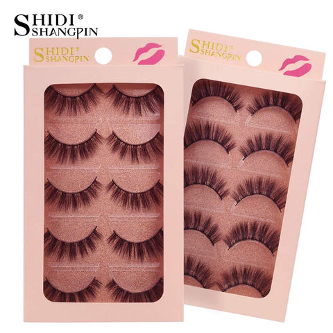 SHIDISHANGPIN 5 Pairs professional Silk Faux Mink Eyelashes Naturally Fluffy 3d Mink Lashes Thick False Lashes
