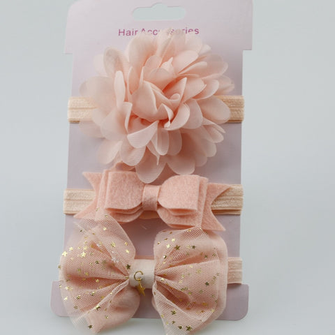 Beautiful 3Pcs Baby Elastic flower Headbands for your gorgeous baby or toddler girl