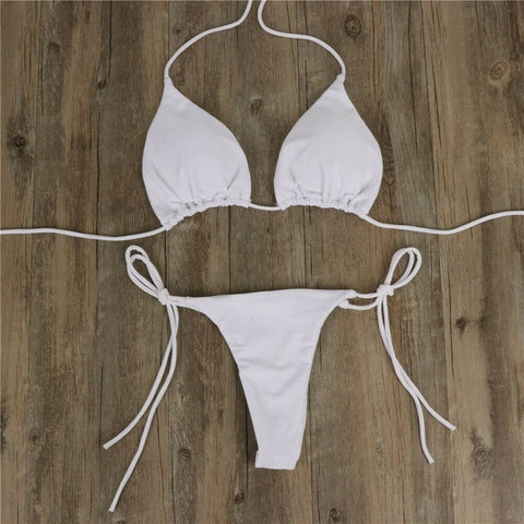 2pcs Summer Bikini Set Bra Tie Side G-String Suit Swimsuit