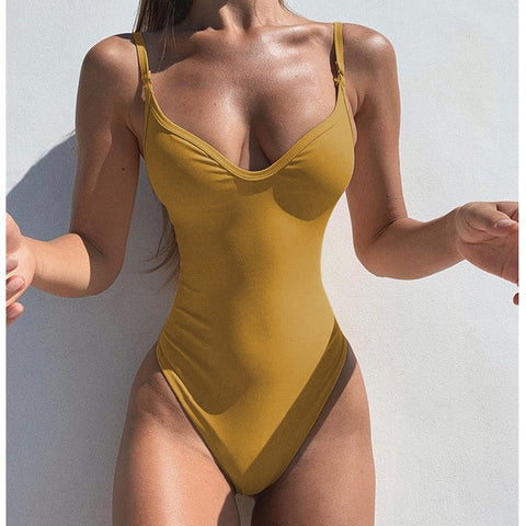 2020 Sexy Solid One Piece Swimsuit Women Swimwear Bodysuit Swimsuit Female Push Up high Waist Bathing Suits Beach Wear