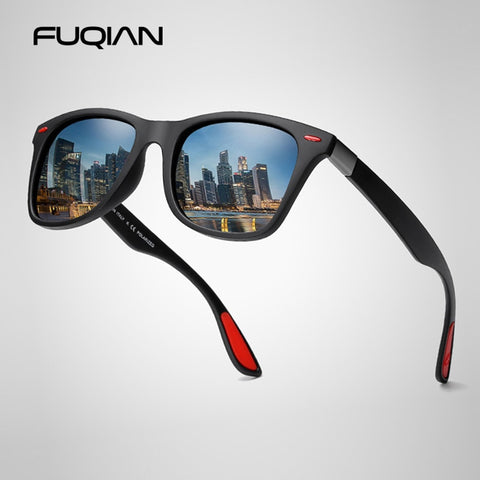 FUQIAN Polarized Sunglasses Men Women Classic black Shades UV400
