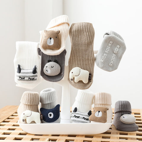 Soft Cotton Baby Girls Socks Newborn Cartoon Animal Baby Boy Socks Anti Slip Floor Sock Spring