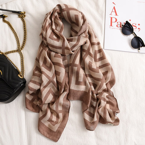 Luxury Women Brand Cotton Scarf Large Shawls Pashmina Hijab Foulard Echarpe Design Print Lady Beach Stole Head Scarves