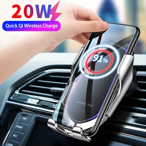 Automatic Clamping 20W Car Wireless Charger for iPhone 12 XS 11 SE Pro Samsung Xiaomi Infrared Sensor