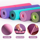 TPE Yoga Double Layer Non-Slip Mat Yoga Exercise Pad with Position Line For Fitness Gymnastics and Pilates