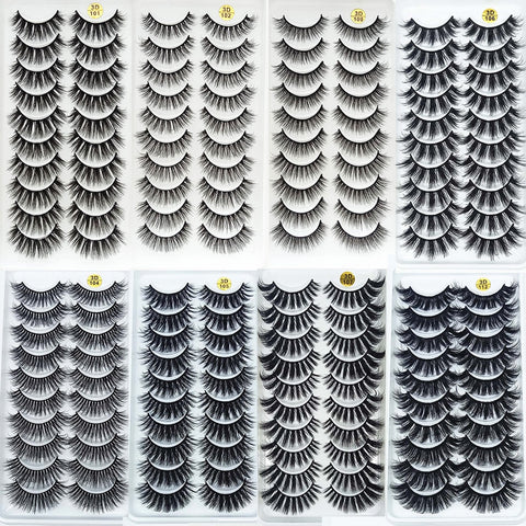 10 Pairs 3D Mink eyelashes professional handmade natural look with free gift