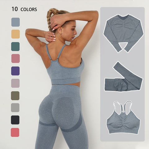 Seamless Yoga Set Sportswear Long Sleeve Crop Top High Waist Leggings+Sport Bra Sports Suits