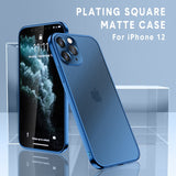 Luxury Square Frame Plating Clear Phone Case For iPhone 12, 11, X  Transparent Silicone Cover