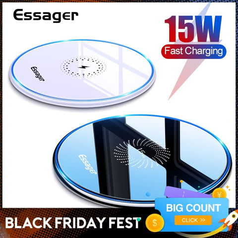 Essager 15W Qi Wireless Charger For iPhone 12 11 Pro Xs Max Mini X Xr 8 Induction Fast Wireless Charging Pad For Samsung Xiaomi
