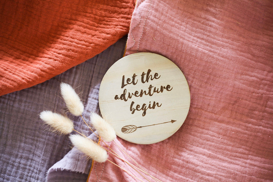 "Birth Announcement Plaque ""Let the adventure begin"""