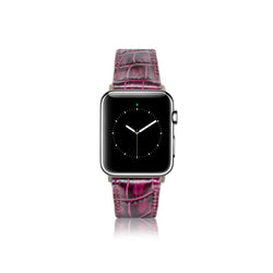 Leren Bandje Apple Watch - Croco Paars - Oblac