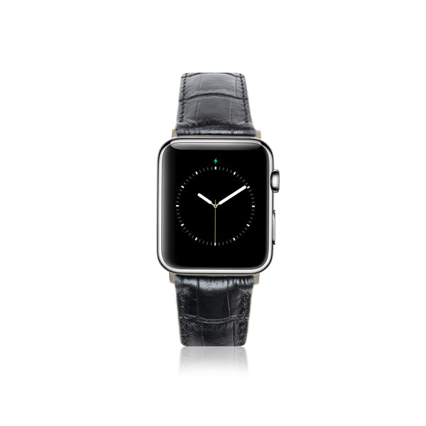 Leren Bandje Apple Watch - Croco Zwart - Oblac