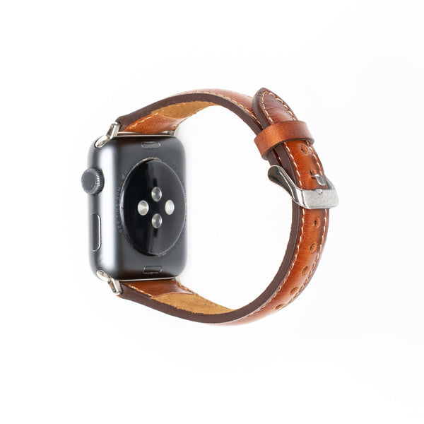 Leren Bandje Apple Watch S - Cognac Bruin - Oblac