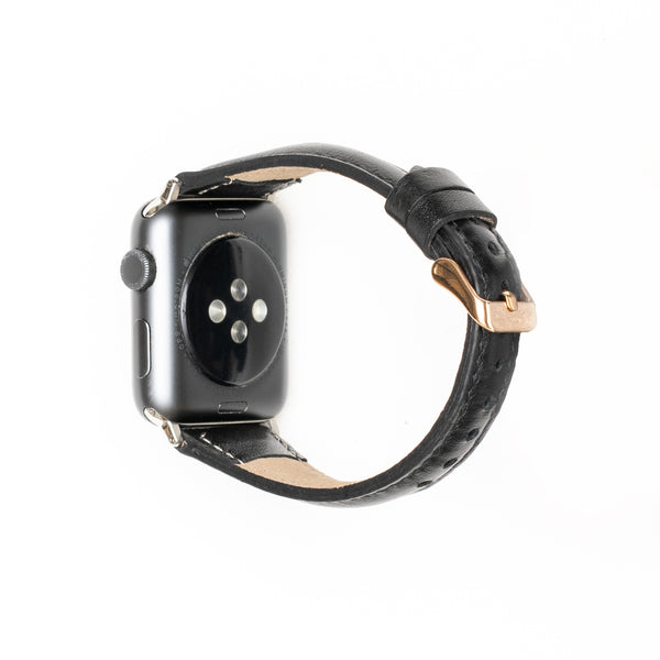 Leren Bandje Apple Watch S - Rustiek Zwart - Oblac