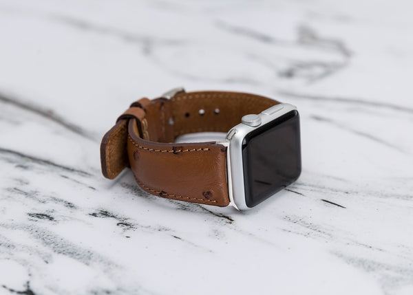 Leren Bandje Apple Watch - Ostrich Bruin - Oblac
