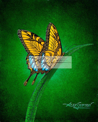 A Delicate Touch (Yellow Butterfly) Mini Canvas Giclee 8x10