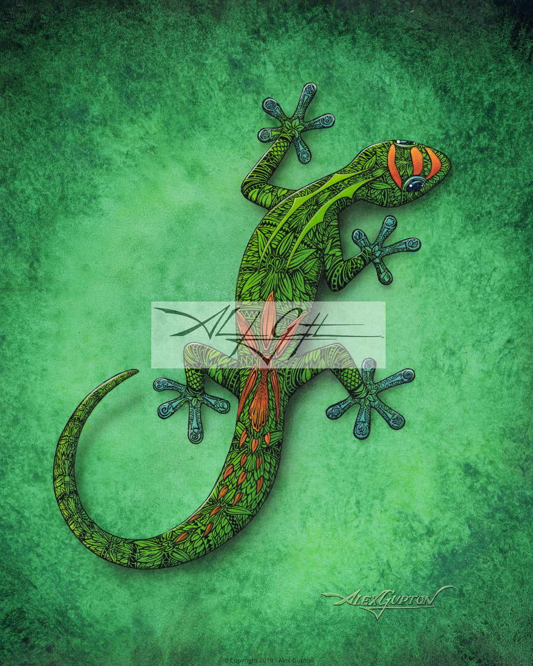 New Gecko Mini Canvas Giclee 8x10