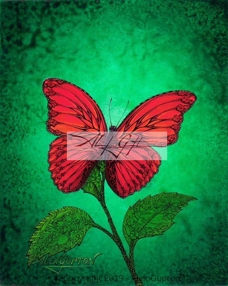 Flowering Butterfly (Red Butterfly) Mini Canvas Giclee 8x10