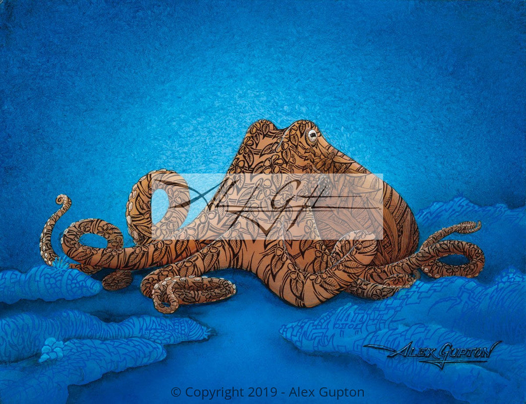 He'e (Octopus) Mini Canvas Giclee 8x10