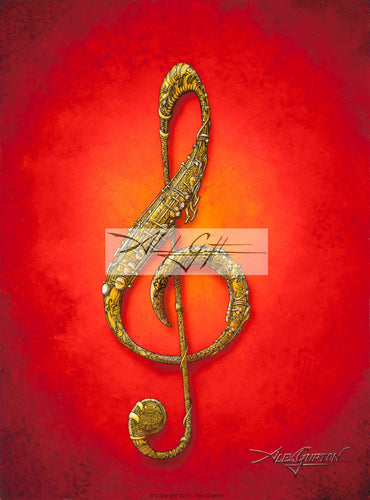 Treble Clef Mini Canvas Giclee 8x10