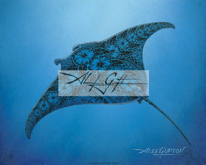 Flying Through the Sea (Manta) Mini Canvas Giclee 8x10