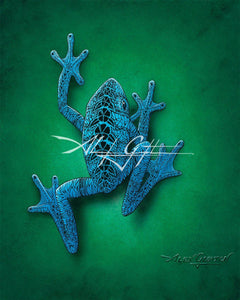 Blue Suited Frog Mini Canvas Giclee 8x10