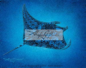 Soaring Through the Sea (Manta) Mini Canvas Giclee 8x10