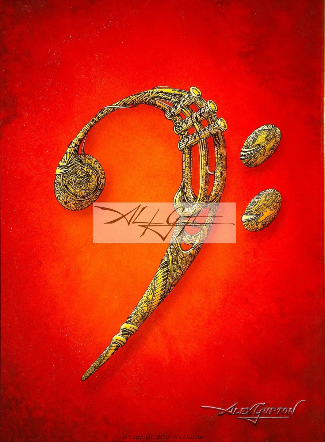 Bass Clef Mini Canvas Giclee 8x10