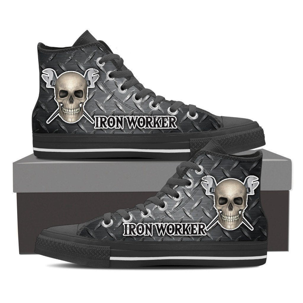 ironworker skull mens high top sneakers