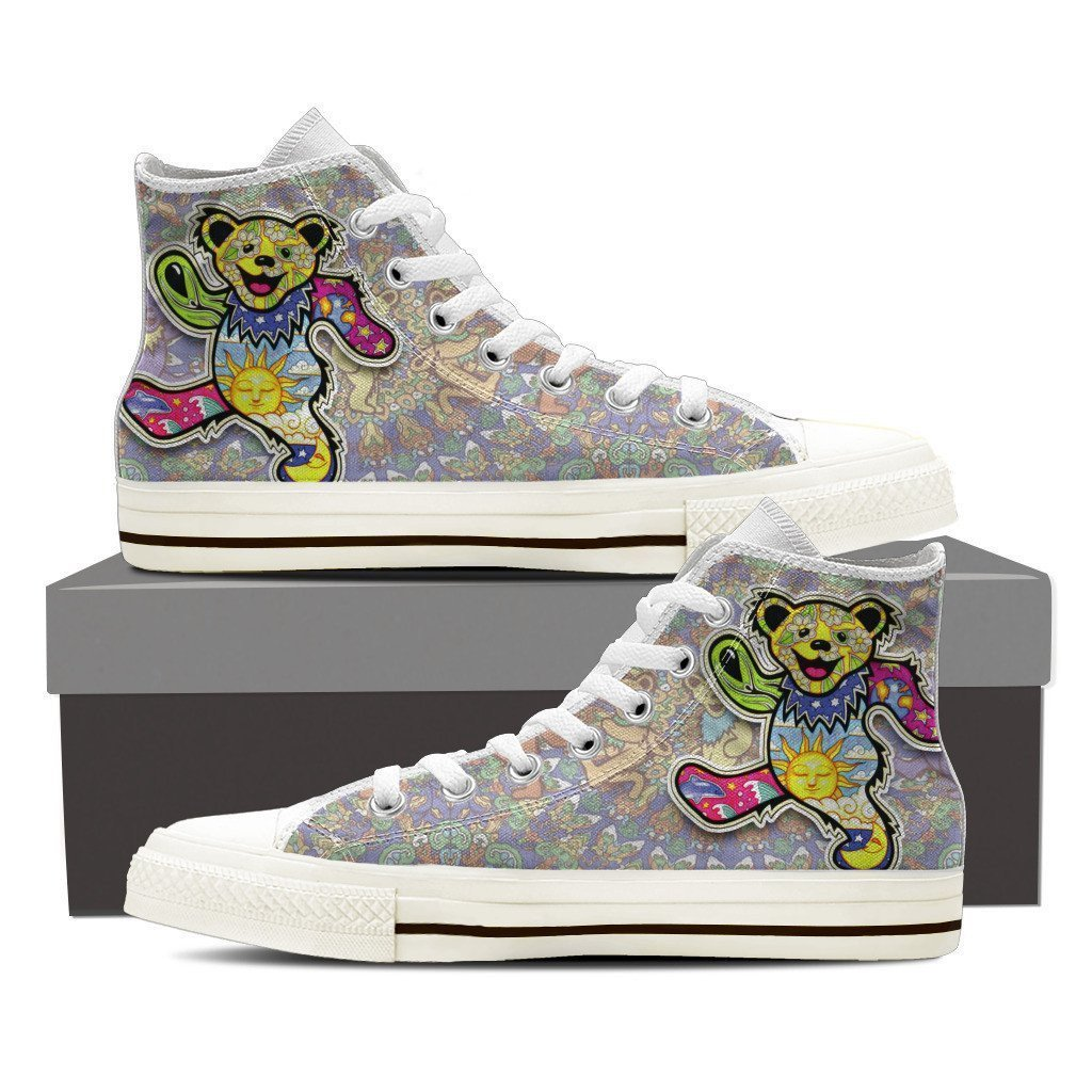 grateful dead dancing bears mens high top sneakers