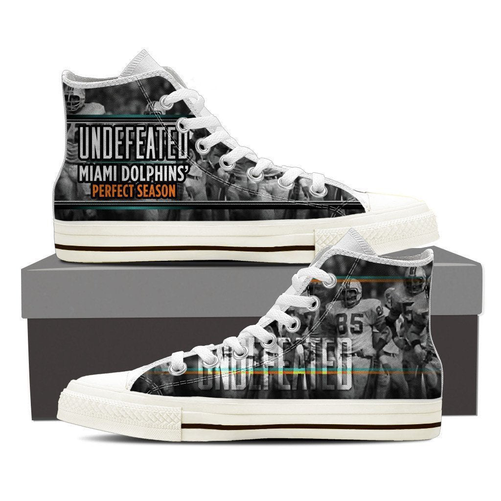 undefeated miami dolphins perfect season ladies high top sneakers