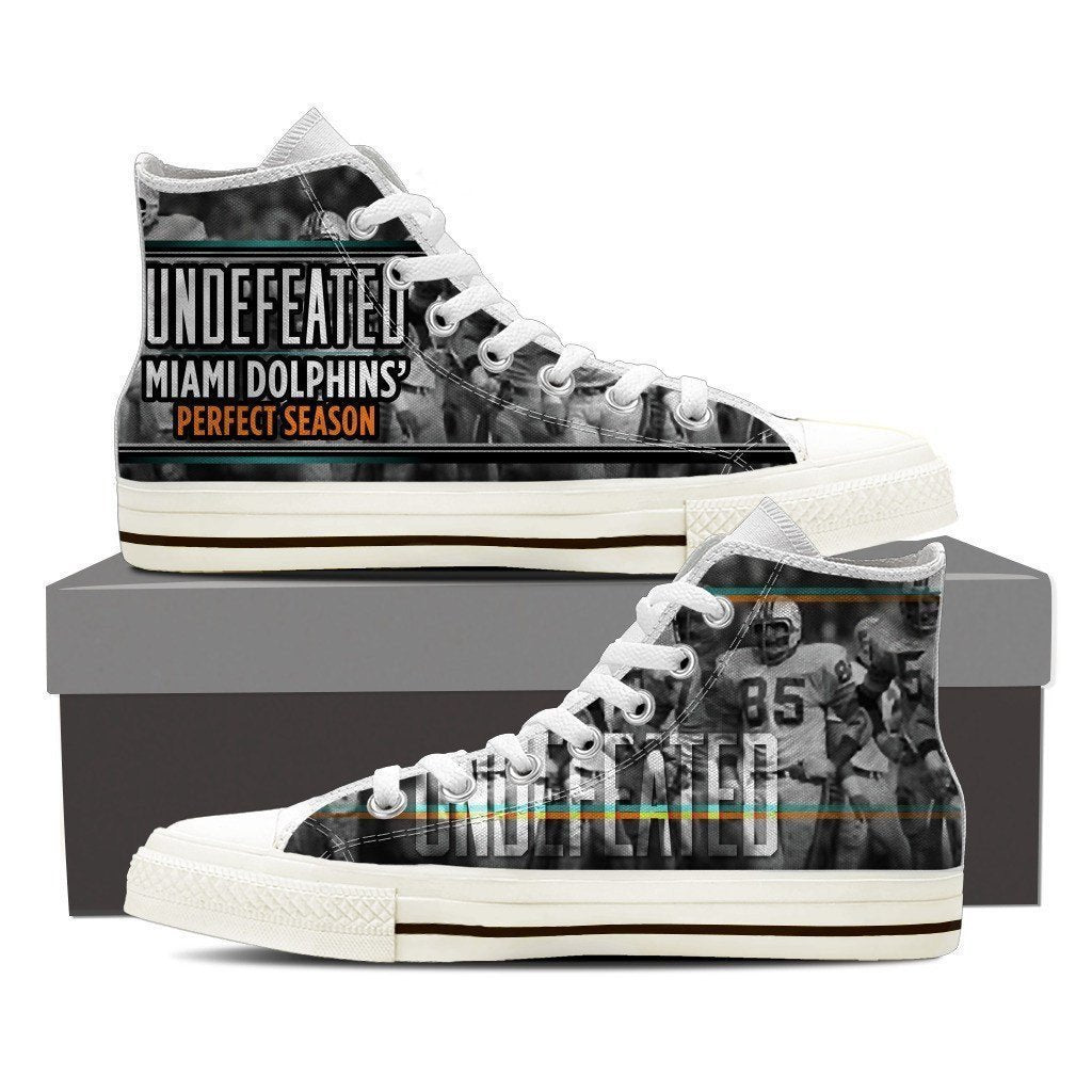undefeated miami dolphins perfect season mens high top sneakers