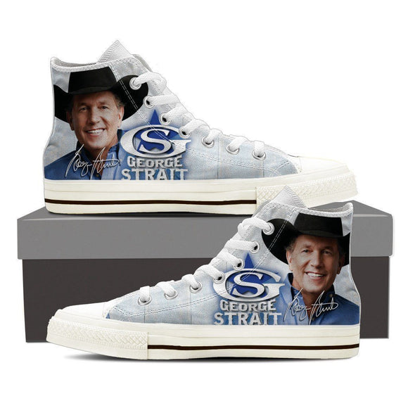 george strait mens high top sneakers
