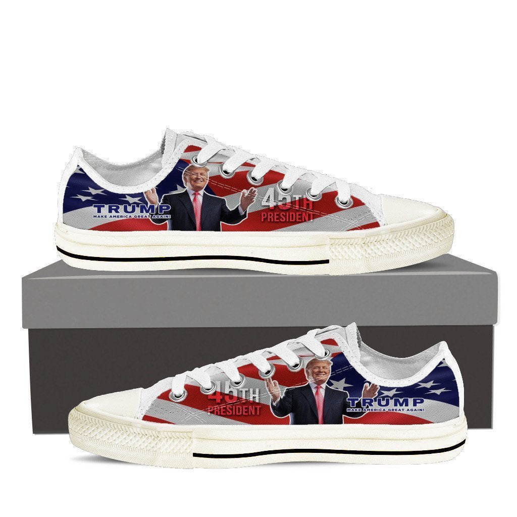 donald trump 45th president ladies low cut sneakers