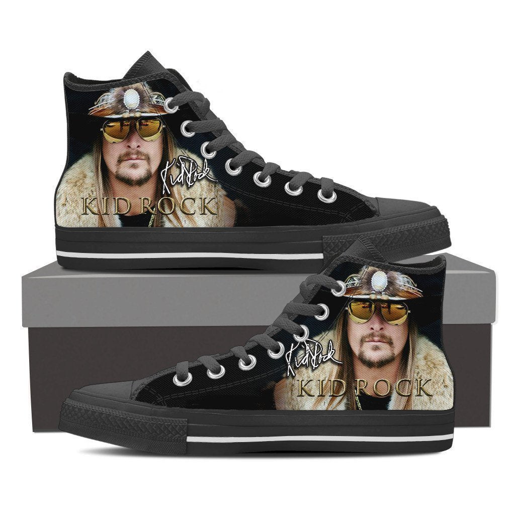 kid rock black ladies high top sneakers