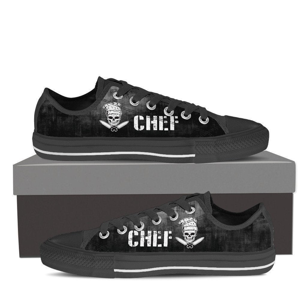 chef skull knifes mens low cut sneakers