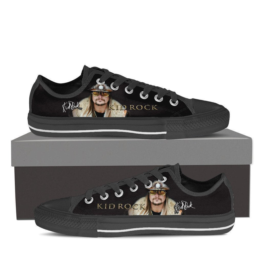 kid rock black mens low cut sneakers