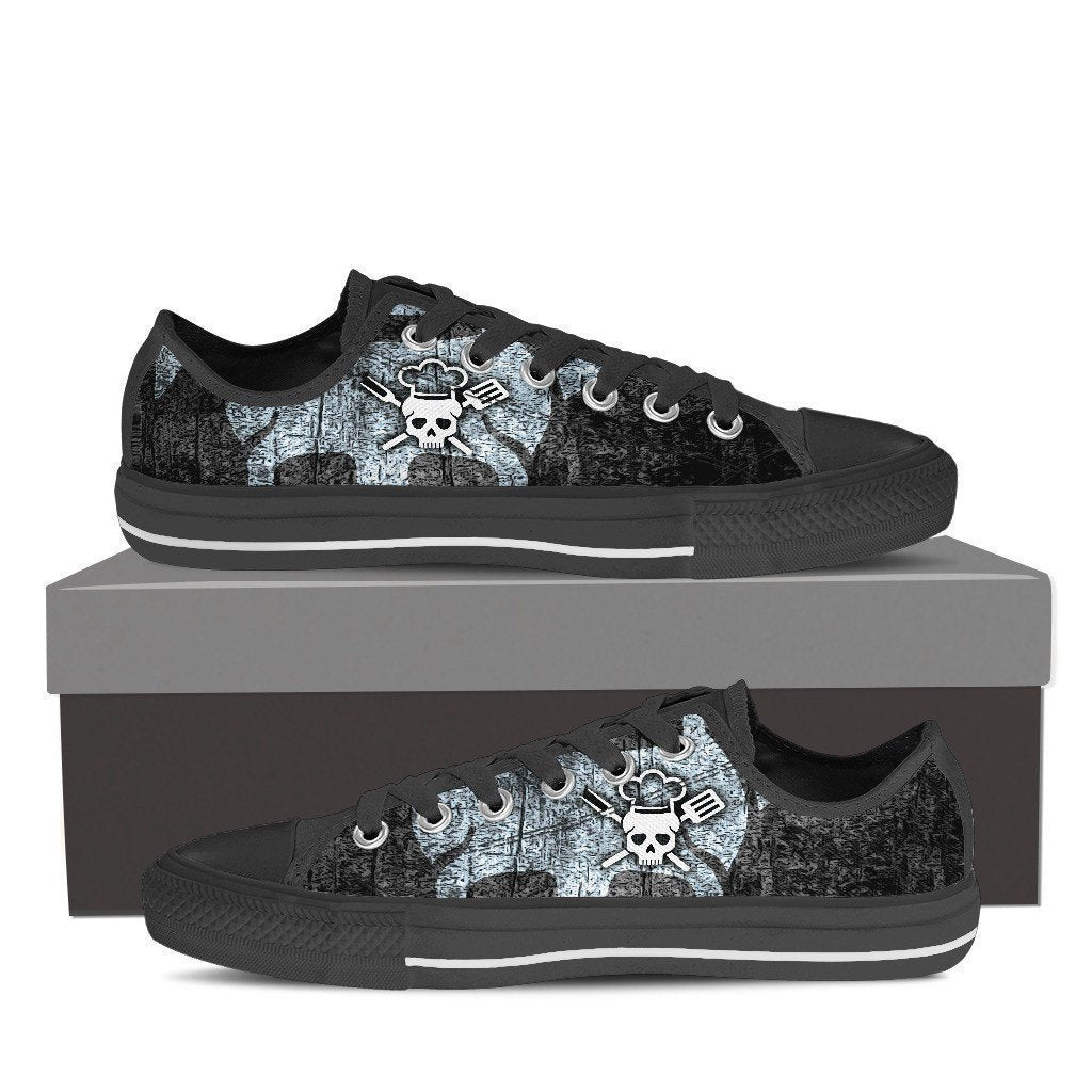 chef skull ladies low cut sneakers