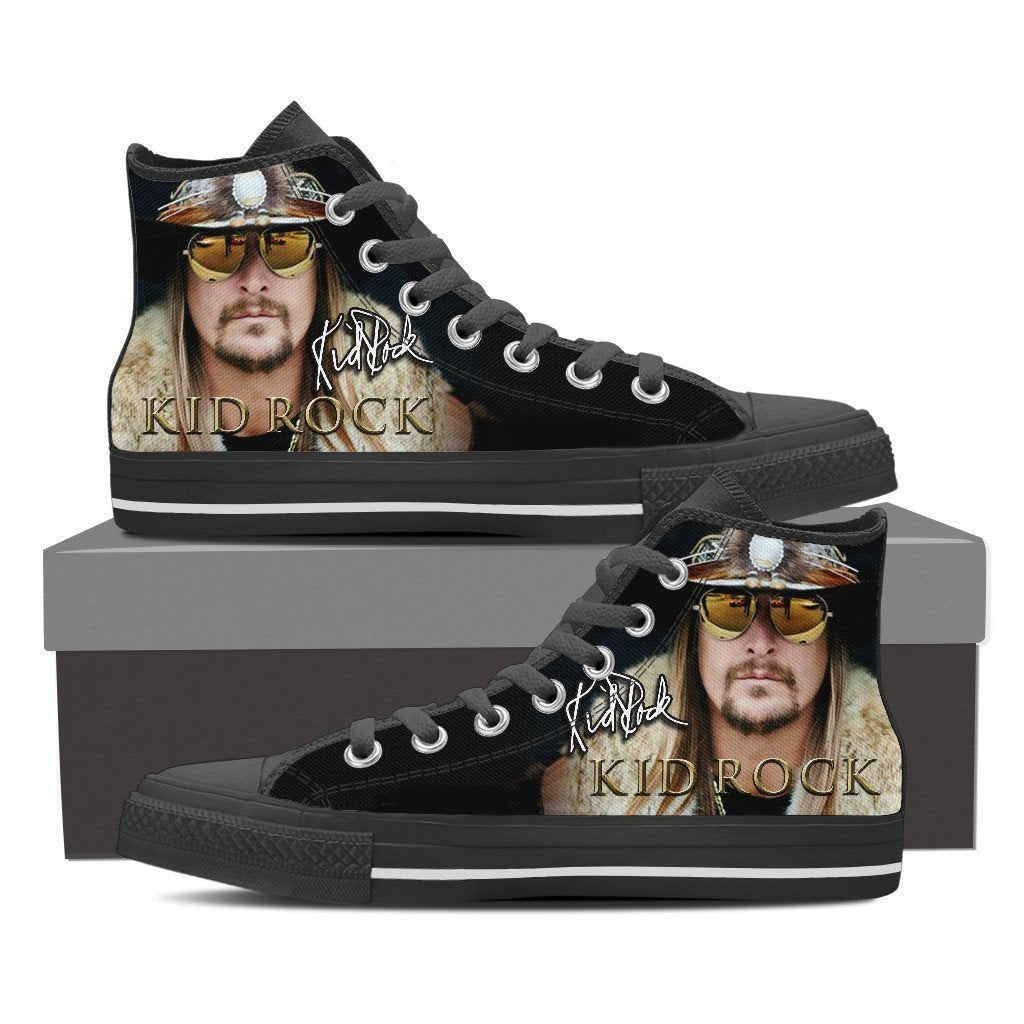 kid rock black mens high top sneakers
