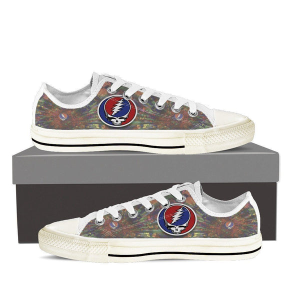 grateful dead skull ladies low cut sneakers