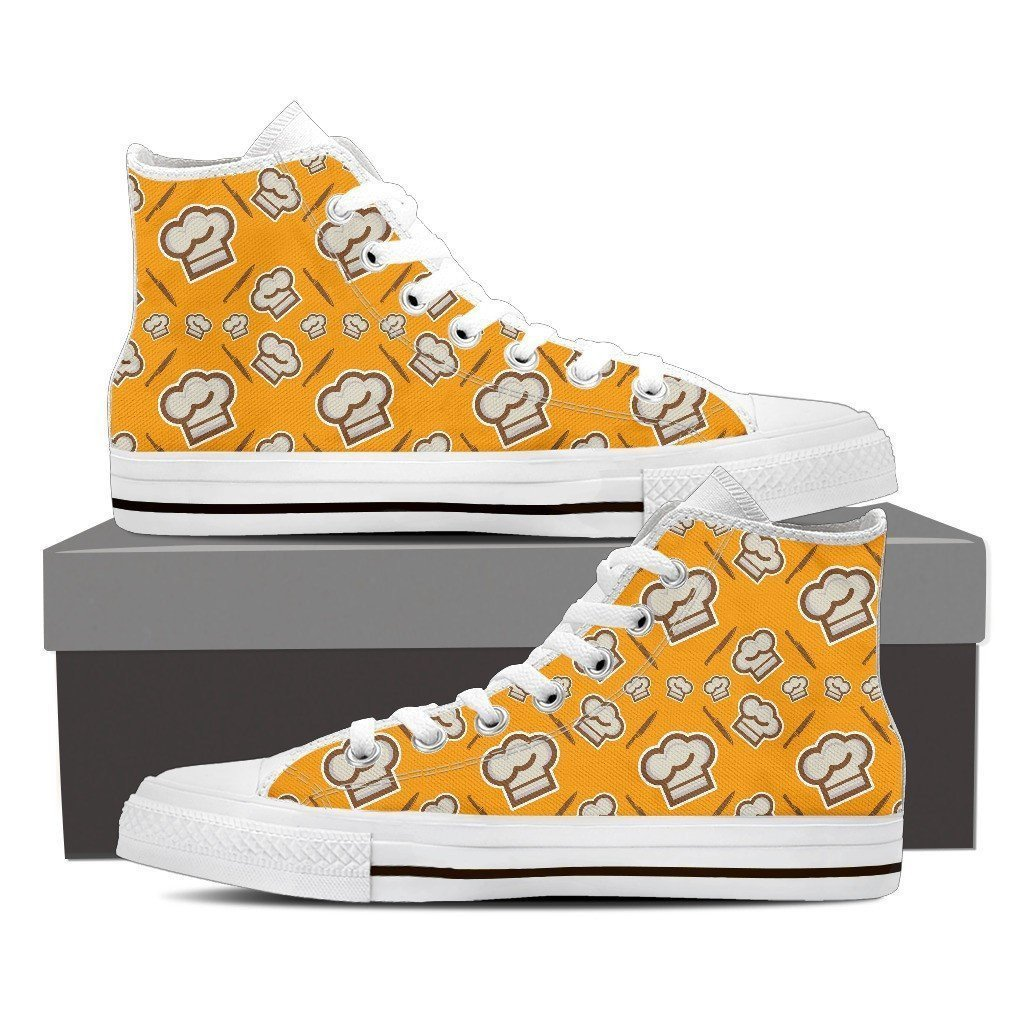 chef cap pattern ladies high top sneakers