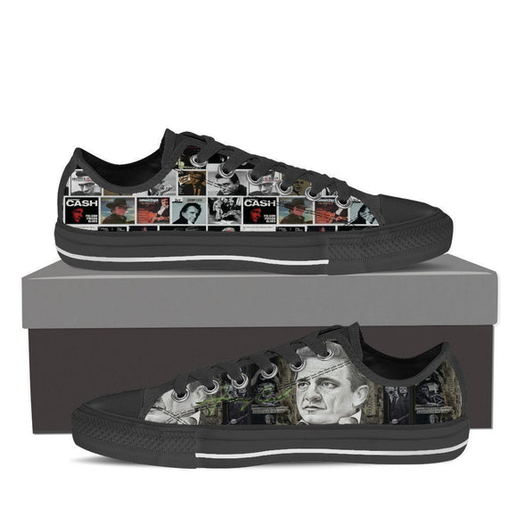 johnny cash black ladies low cut sneakers