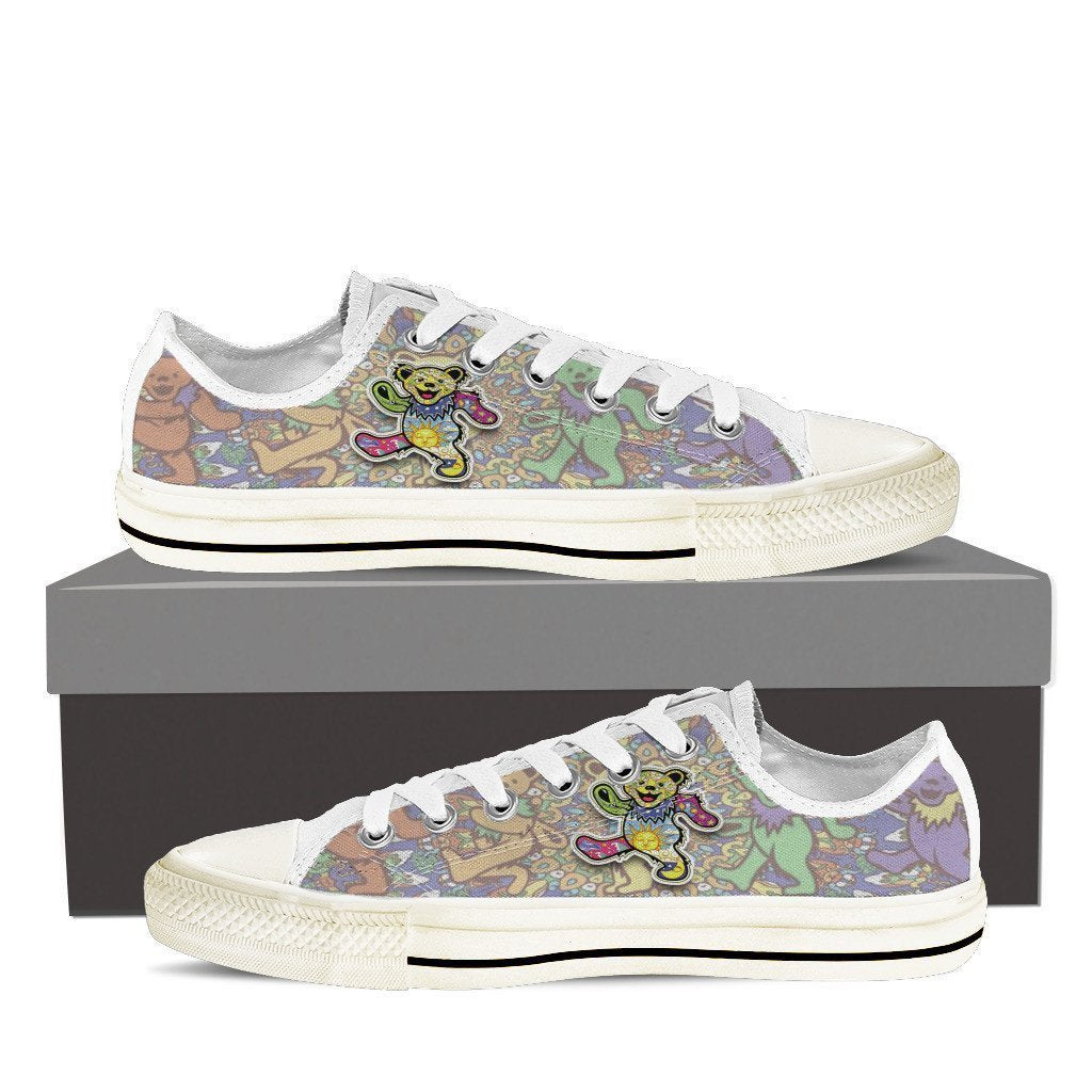 grateful dead dancing bears mens low cut sneakers