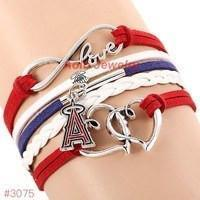 Infinity Love LA Angels Baseball Team  Leather Bracelet ! FREE just pay S&H!